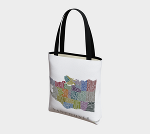 Tote Bag with Text Map of Vancouver Neighbourhoods