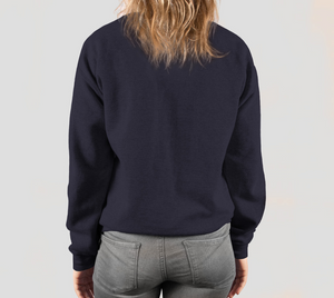 back of navy blue crewneck sweatshirt on female model