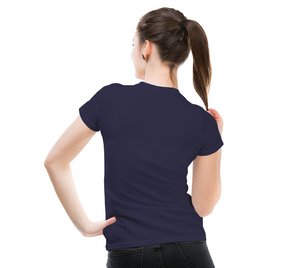 back of navy fitted tshirt on female model