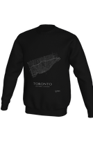 Load image into Gallery viewer, white streets of Toronto, Ontario, on black crewneck sweatshirt