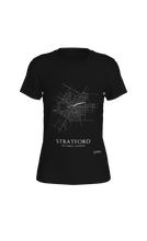 Load image into Gallery viewer, white streets of Stratford, Ontario, on black fitted tshirt
