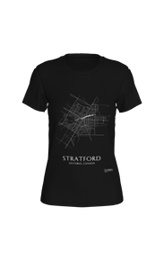 white streets of Stratford, Ontario, on black fitted tshirt