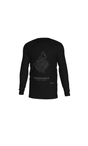 white streets of Mississauga, Ontario, on black long sleeve tshirt