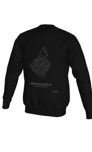 white streets of Mississauga, Ontario, on black crewneck sweatshirt
