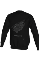 Load image into Gallery viewer, white streets of Waterloo, Ontario, on black crewneck sweatshirt