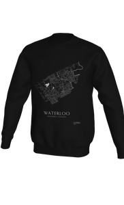white streets of Waterloo, Ontario, on black crewneck sweatshirt