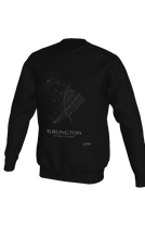 Load image into Gallery viewer, white streets of Burlington, Ontario, on black crewneck sweatshirt