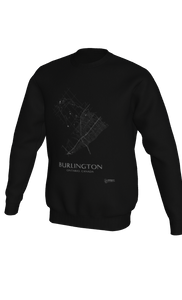 white streets of Burlington, Ontario, on black crewneck sweatshirt