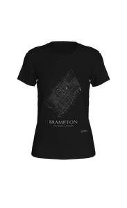 white streets of Brampton, Ontario, on black fitted tshirt