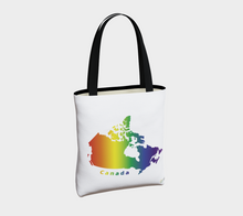 Load image into Gallery viewer, Tote Bag with Rainbow Map of Canada