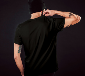 back of black classic unisex tshirt with male model
