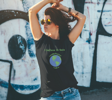 "Load image into Gallery viewer, Classic T-shirt - ""I believe in Gaia"" with Globe"
