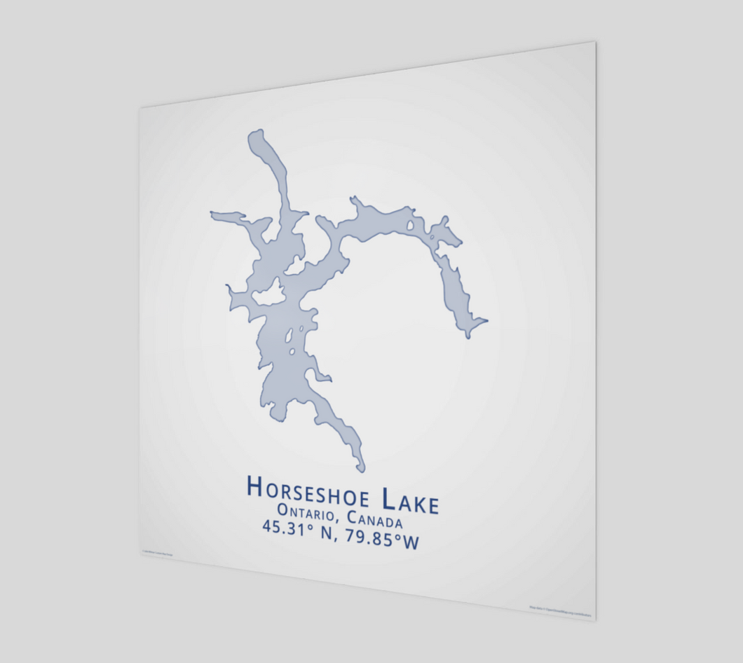 light blue Horseshoe Lake, Parry Sound, glossy poster - square