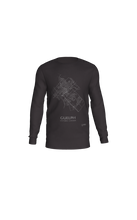 Load image into Gallery viewer, white streets of Guelph, Ontario, on charcoal long sleeve tshirt