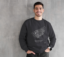 Load image into Gallery viewer, white streets of Waterloo, Ontario, on dark heather crewneck sweatshirt with male model