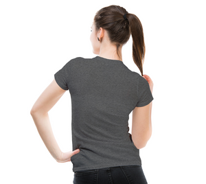 back of deep heather fitted tshirt on female model