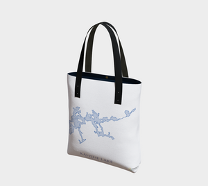 light blue Kahshe Lake map - front of tote bag