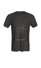Load image into Gallery viewer, white streets of Stratford, Ontario, on dark grey classic unisex tshirt