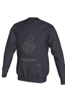 Load image into Gallery viewer, white streets of Mississauga, Ontario, on dark heather crewneck sweatshirt