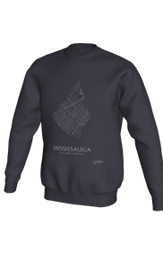 white streets of Mississauga, Ontario, on dark heather crewneck sweatshirt