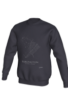 Load image into Gallery viewer, white streets of Burlington, Ontario, on dark heather crewneck sweatshirt