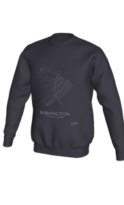 white streets of Burlington, Ontario, on dark heather crewneck sweatshirt
