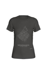 white streets of Mississauga, Ontario, on deep heather fitted tshirt