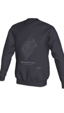 Load image into Gallery viewer, white streets of Brampton, Ontario, on dark heather crewneck sweatshirt