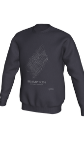 white streets of Brampton, Ontario, on dark heather crewneck sweatshirt