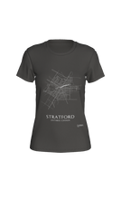 Load image into Gallery viewer, white streets of Stratford, Ontario, on deep heather fitted tshirt