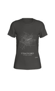 white streets of Stratford, Ontario, on deep heather fitted tshirt
