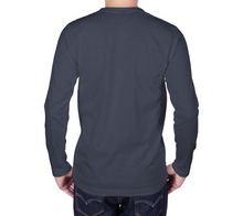 Load image into Gallery viewer, back of navy long sleeve tshirt with male model