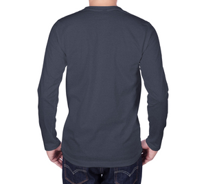 back of navy long sleeve tshirt with male model