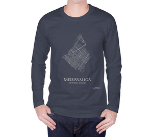 white streets of Mississauga, Ontario, on navy long sleeve tshirt with male model