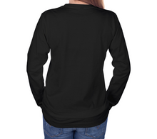 Load image into Gallery viewer, back of black long sleeve tshirt with female model