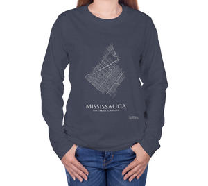 white streets of Mississauga, Ontario, on navy long sleeve tshirt with female model