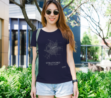 Load image into Gallery viewer, white streets of Stratford, Ontario, on navy fitted tshirt with female model