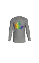 Load image into Gallery viewer, Long Sleeve T-Shirt with Rainbow Map of Canada