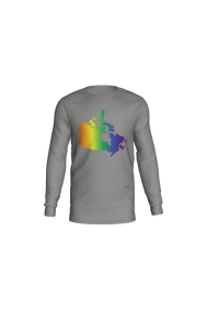 Long Sleeve T-Shirt with Rainbow Map of Canada