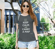 Load image into Gallery viewer, Fitted T-shirt - Keep Calm and Carry a Map