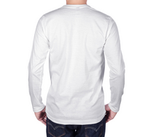 Load image into Gallery viewer, back of white long sleeve tshirt with male model