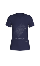 Load image into Gallery viewer, white streets of Brampton, Ontario, on navy fitted tshirt