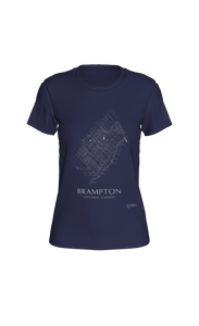white streets of Brampton, Ontario, on navy fitted tshirt