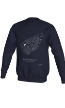 Load image into Gallery viewer, white streets of Waterloo, Ontario, on navy crewneck sweatshirt