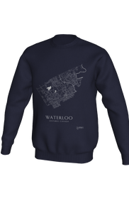 white streets of Waterloo, Ontario, on navy crewneck sweatshirt