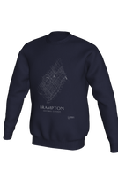 Load image into Gallery viewer, white streets of Brampton, Ontario, on navy crewneck sweatshirt