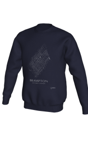 white streets of Brampton, Ontario, on navy crewneck sweatshirt