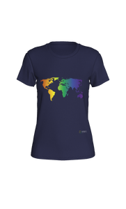 Fitted T-shirt - Rainbow World Map