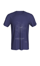 Load image into Gallery viewer, white streets of Stratford, Ontario, on navy classic unisex tshirt