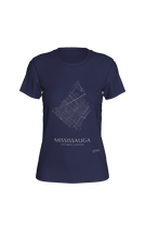 Load image into Gallery viewer, white streets of Mississauga, Ontario, on navy fitted tshirt